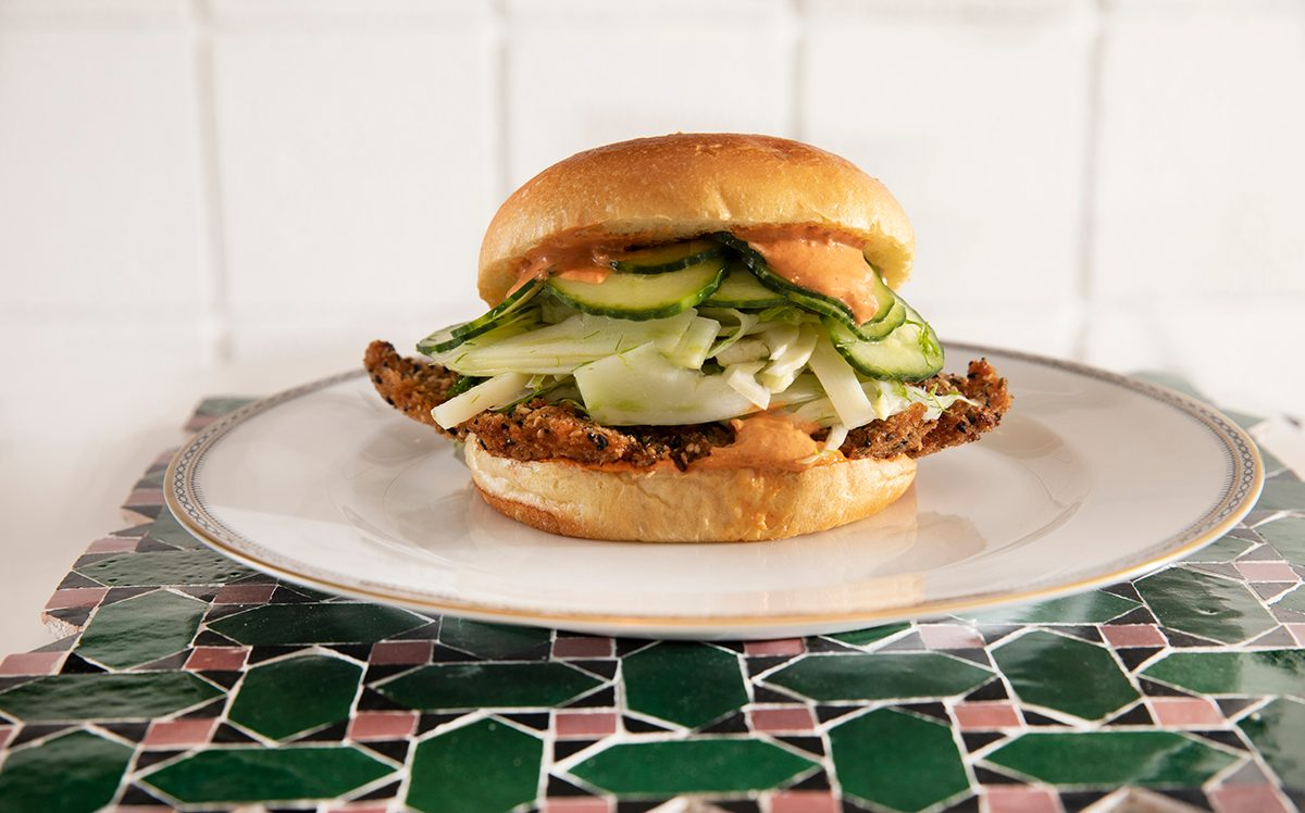 Chicken Schnitzel Sandwich With Harissa Aioli The Hamsa Brand